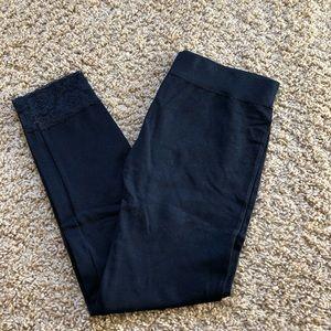 Pants - black capri leggings with floral lace fringe
